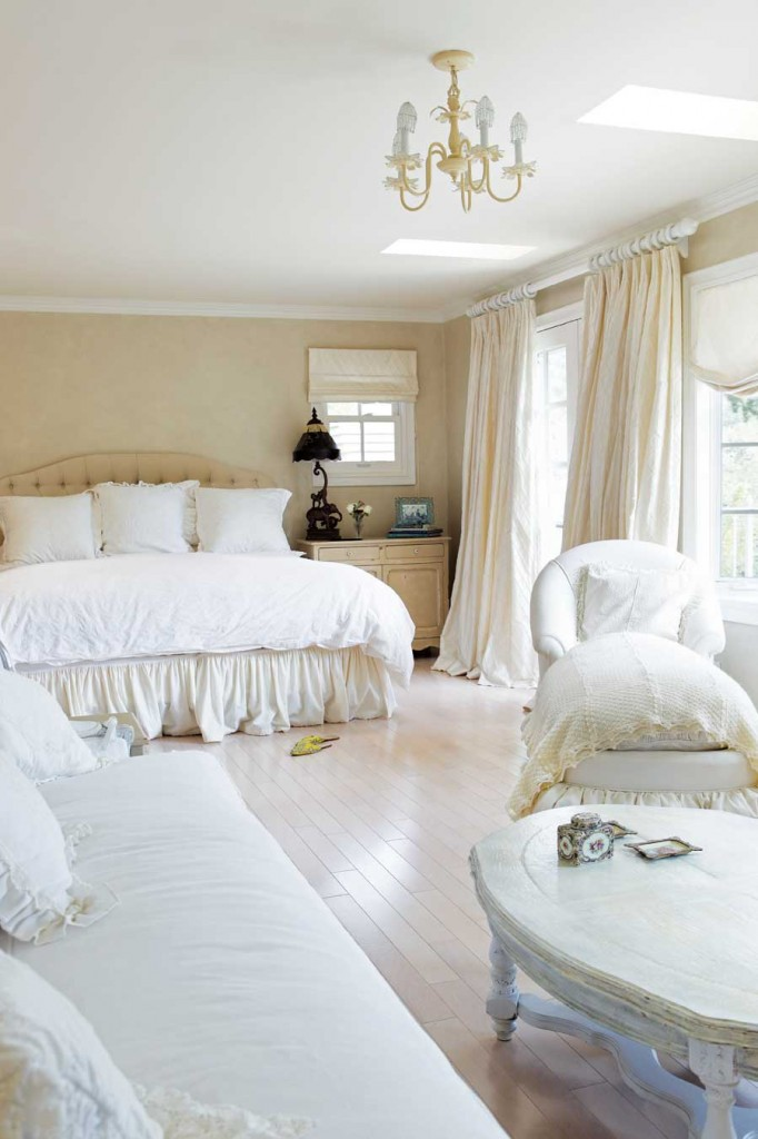 Cynthia swathed her dreamy bedroom in lush materials, such as the richly appointed bedding and generous window treatments.