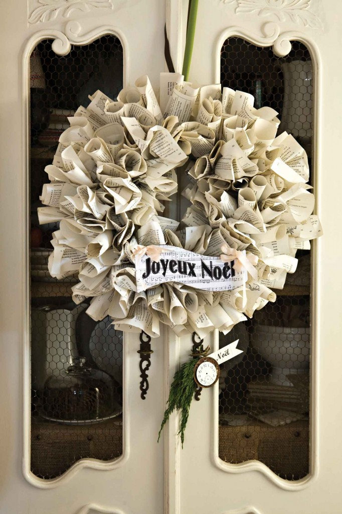 French Book Paper Wreath