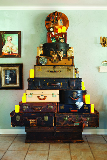 vintage suitcases into the shape of a tree