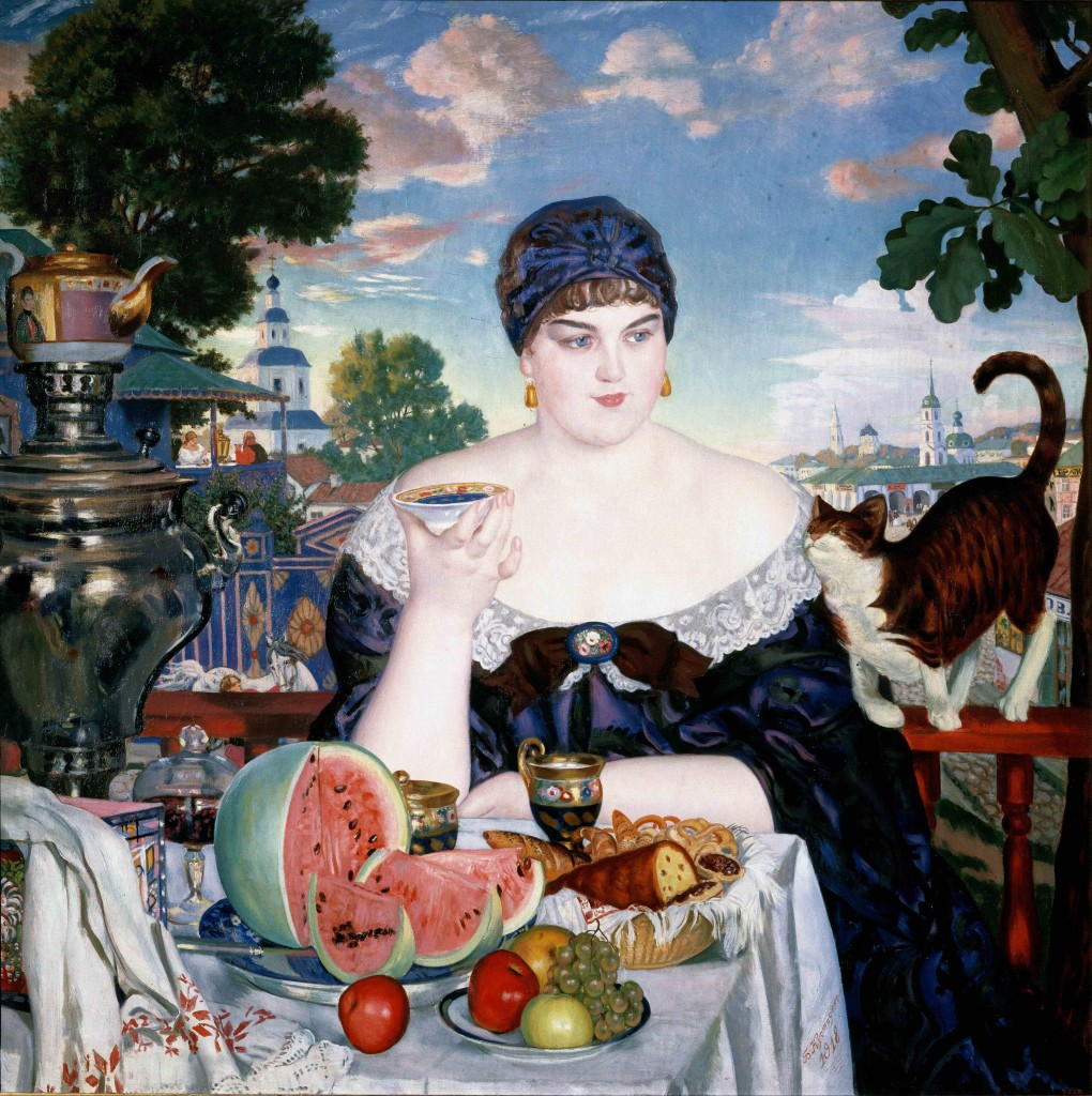 "Boris Kustodiev, ""Merchant's Wife at Tea,"" Google Art Project"