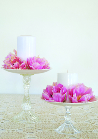 DIY cake stands with vintage plates & Romantic Decor DIY Cake Stands with Vintage Plates