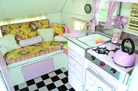 inside vintage trailer