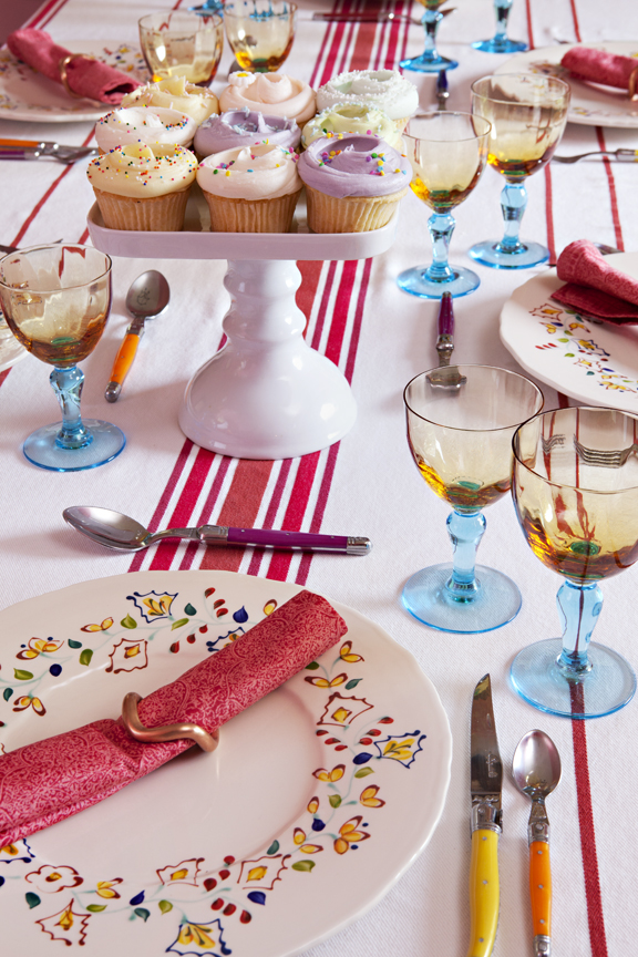 Colorful and cheery, this summer inspired table is perfect for summer celebrations.