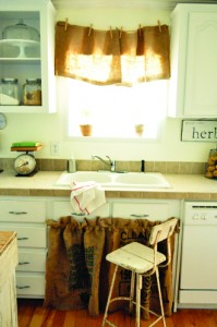 burlap sink skirt