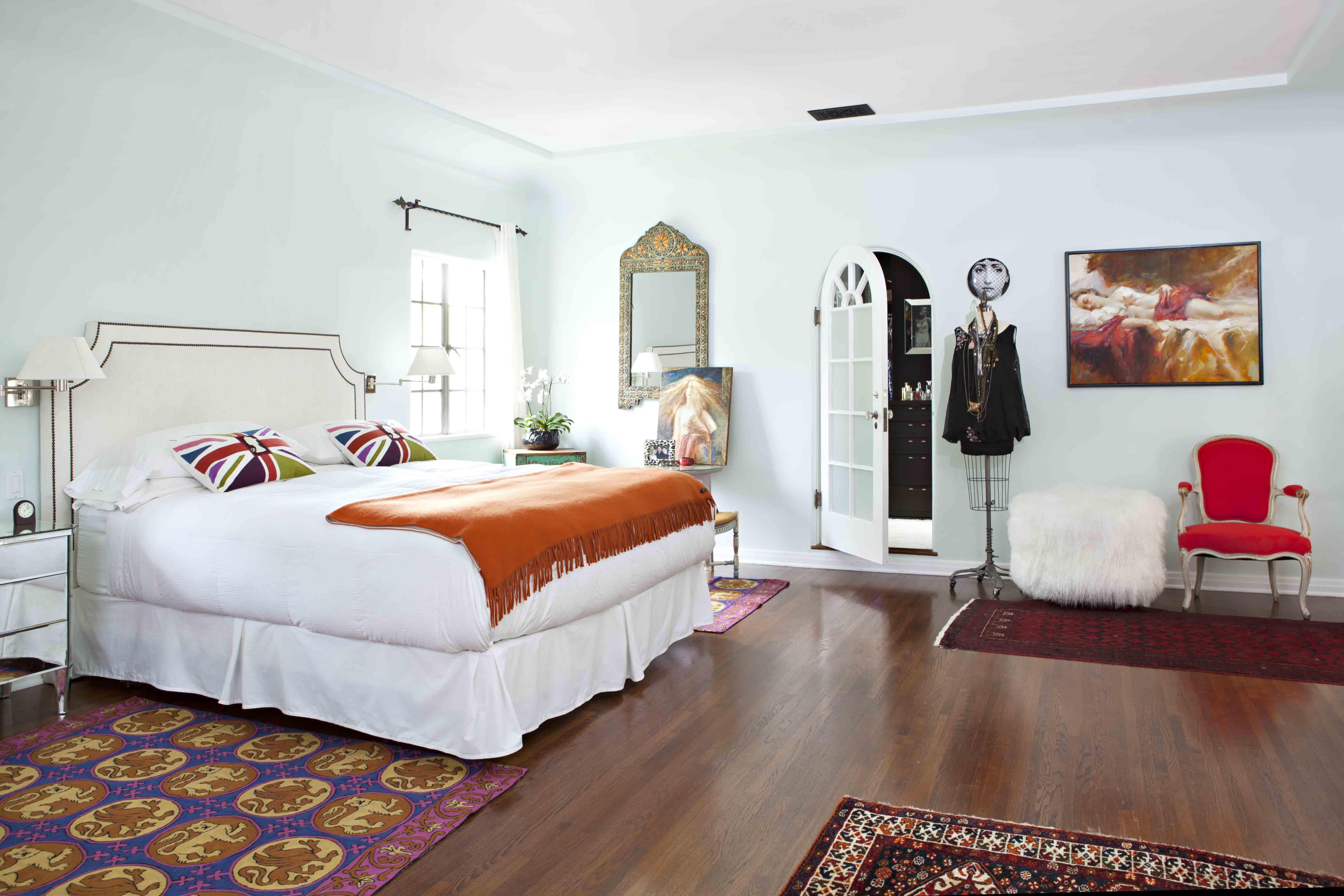 Modern Romantic Master Bedroom white armoire wardrobe bedroom furniture