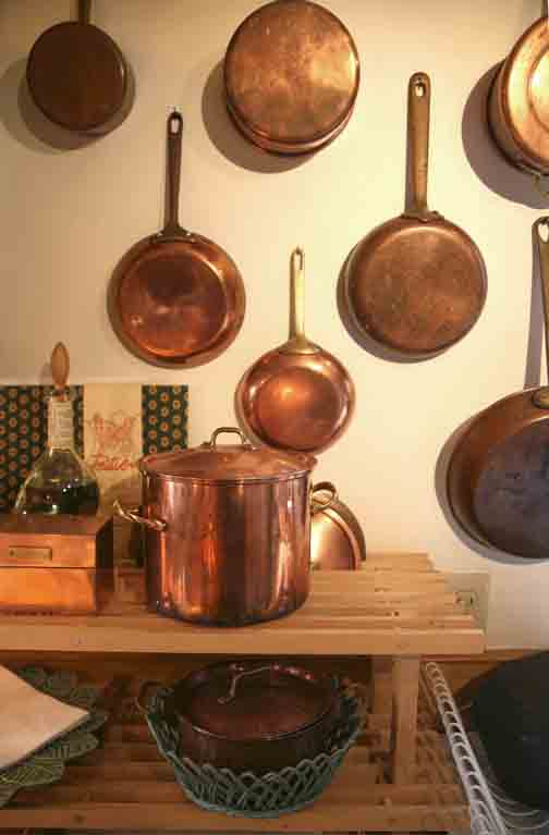 Shiny copper pots