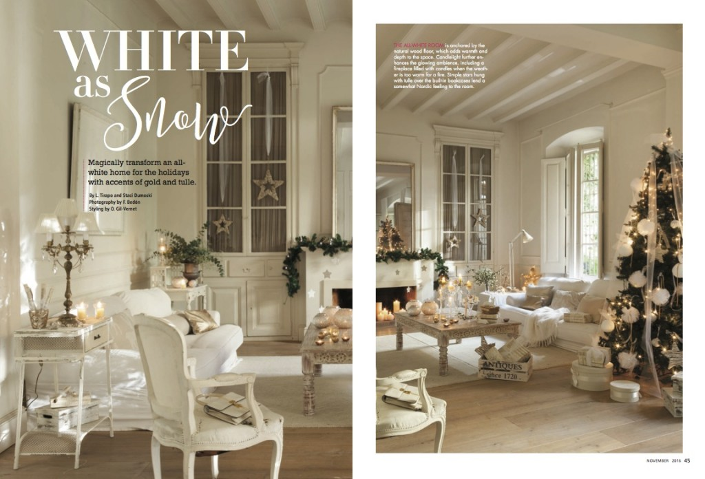 Romantic Home Decorating Part - 20: [romantic-homes-november-2016-white-christmas-decorating]