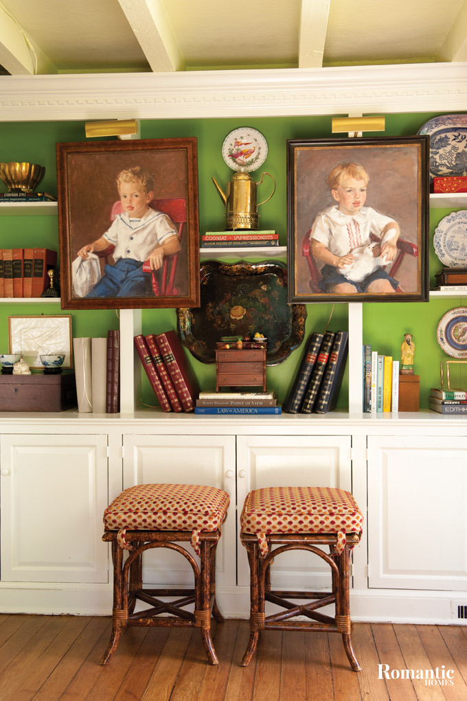 A pop of green bursts from the back of the bookcase.