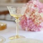 amber depression glass compote dish