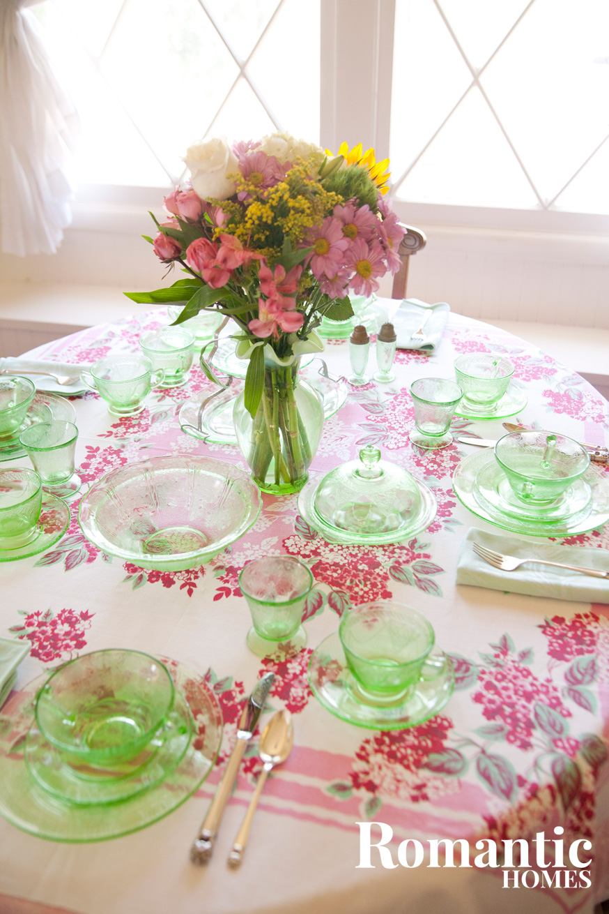 green depression glass table setting