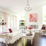 A sophisticated shabby cottage living room in white and pink