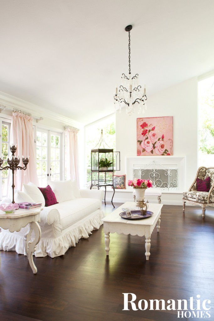 A sophisticated take on shabby cottage design, this home embraces white and pink with a grownup sensibility and style.