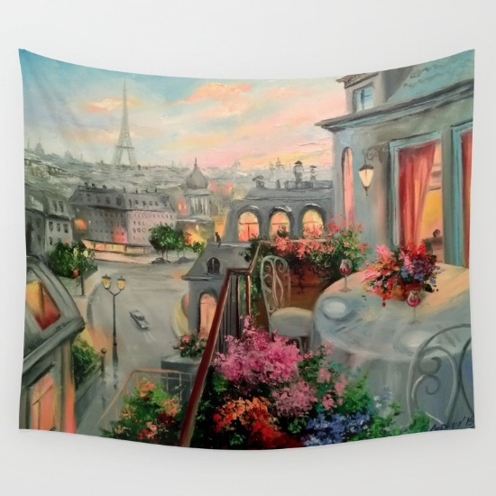 Wall tapestry, Paris for Two by OLHADAR