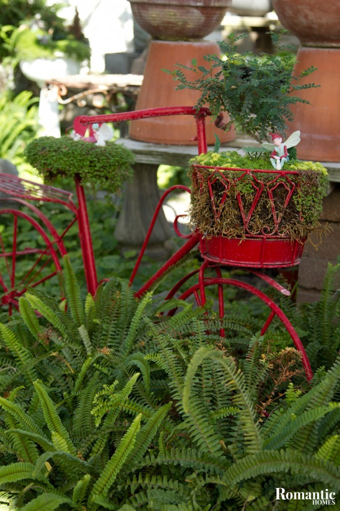 Bring the romance outside with miniature fairies and charming vintage finds.