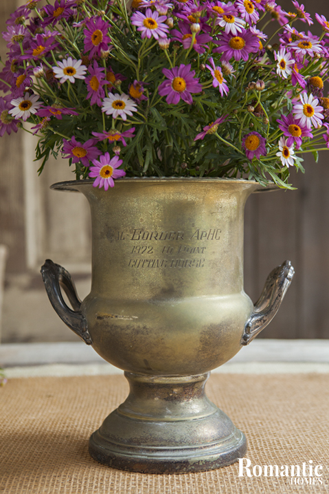 Upcycled Style: Tarnished vintage loving cup with wildflowers