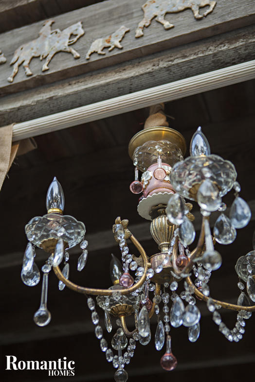 Ucpcyled Style: Vintage shabby chandelier hanging in barn