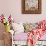 Upcycled Style: Pink walls and wicker settee