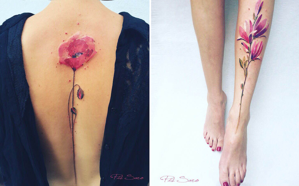 floral tattoos, back and leg