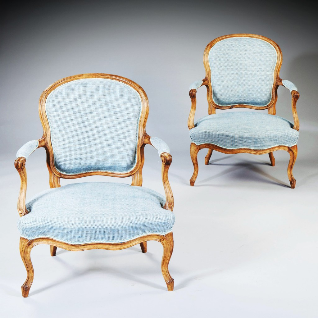 Pair of French Louis XV Rococo Fauteuils Stamped Pothier_Nicholas Wells Antiques_Barnebys