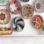 colorful woven baskets as wall art