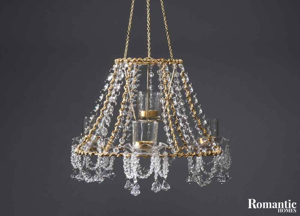 Make it diy crystal chandelier romantic homes diy chandelier from lampshade mozeypictures Image collections