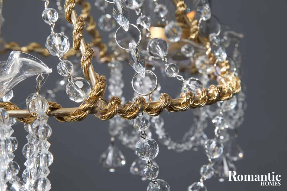 Detail of cord and crystals from a diy chandelier