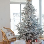 With very little snow in Vancouver, homeowner Stephanie Vogler uses Christmas décor like this flocked tree to bring a winter wonderland inside for her children to enjoy.