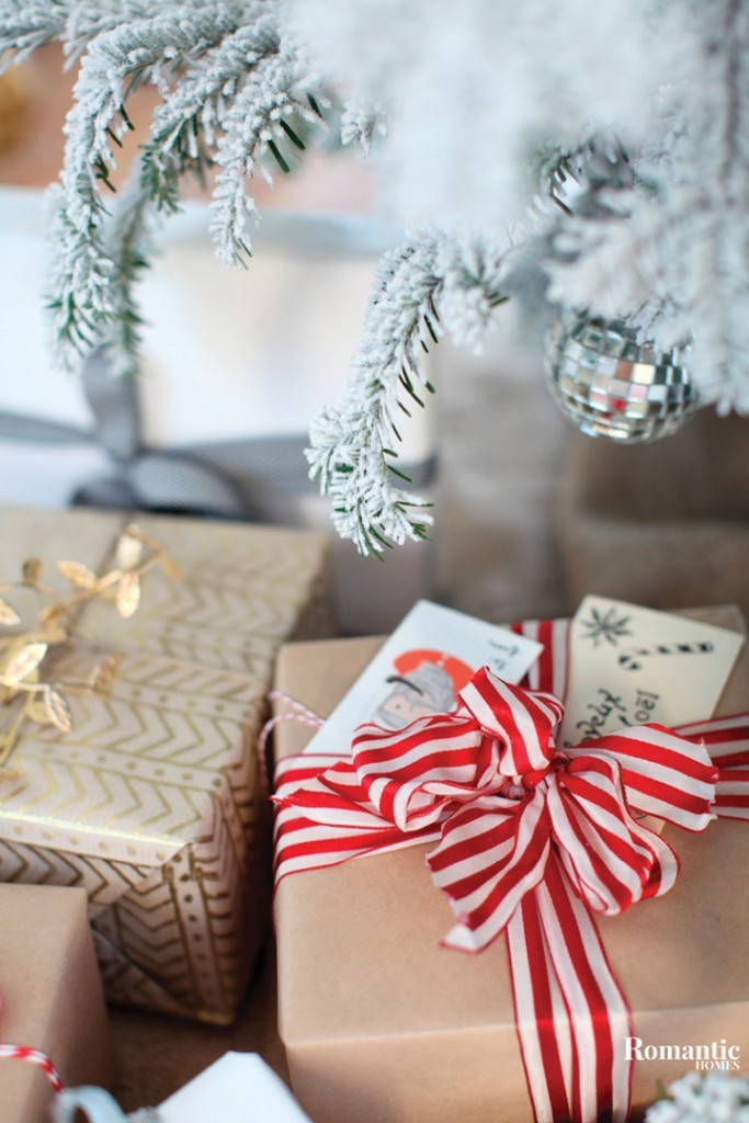 Simply wrapped gifts bring some classic charm to this holiday. Craft paper, off-cuts and scraps saved throughout the year can brighten your packages.