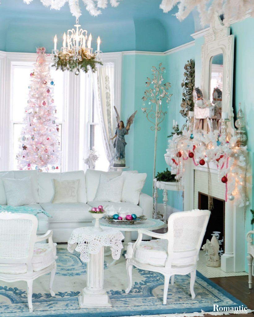 When decorating her home for the holidays, Donna plays up on the existing white and aqua theme.