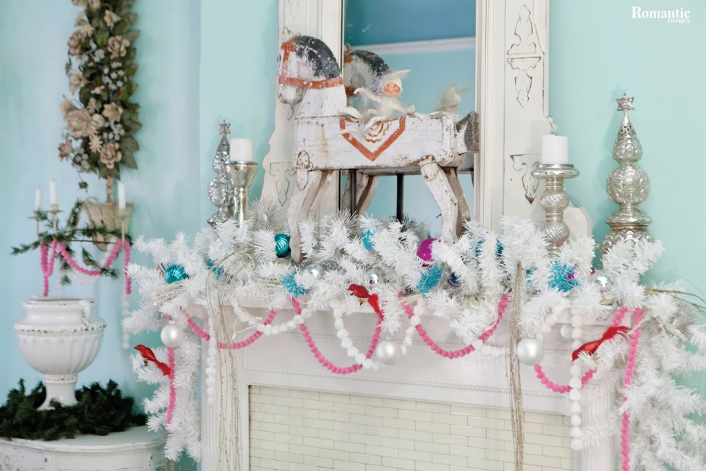 Donna easily dresses up her home for the holidays by adding garlands, pom-pom trim and ornaments to her mantels, furnishings and accessories.