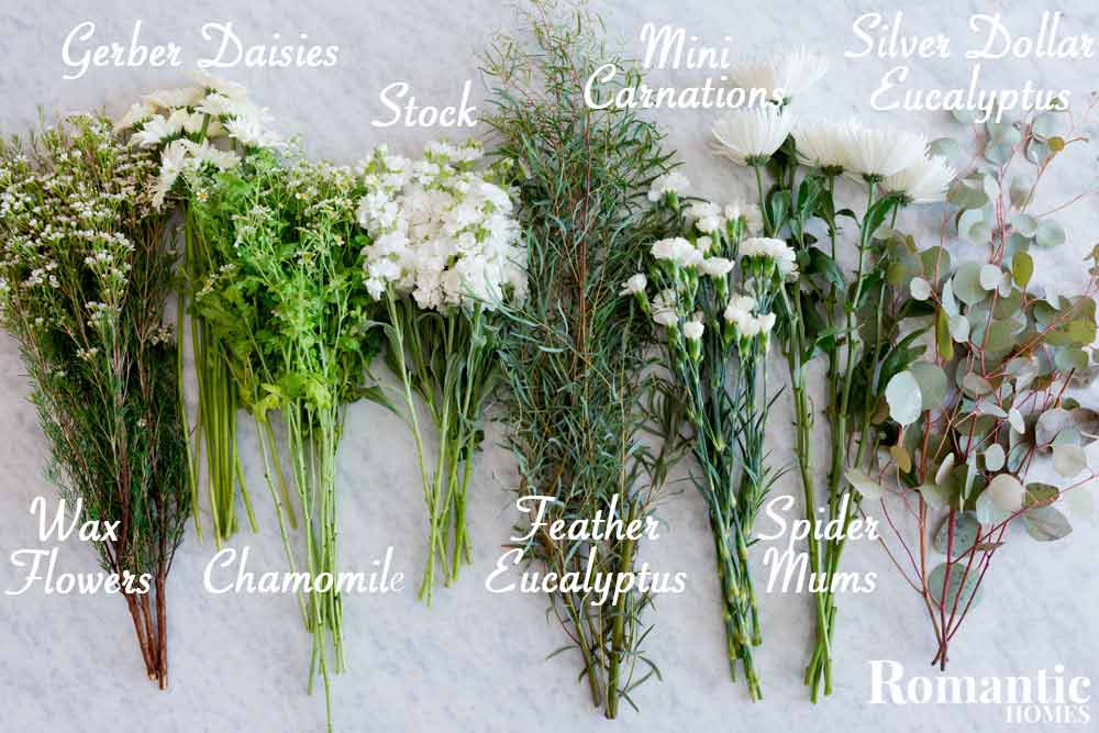 Types of flowers used in arrangement