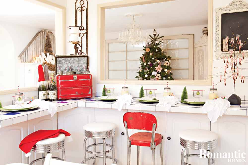 Kitchen counter set for casual holiday meal.