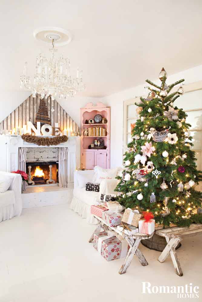 Nordic style living room with Christmas tree.