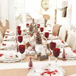 Long view of dining table set up with burlap and deep red accessories.