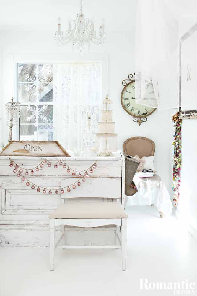 White nordic style room with rustic holiday decor