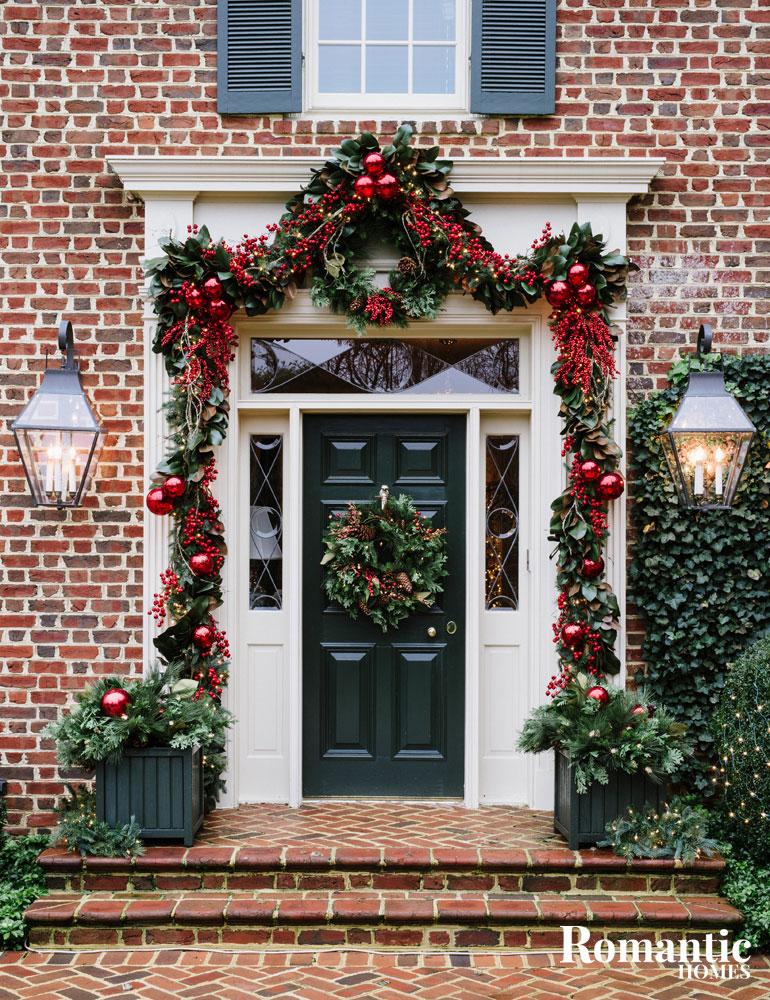 garlanded front door