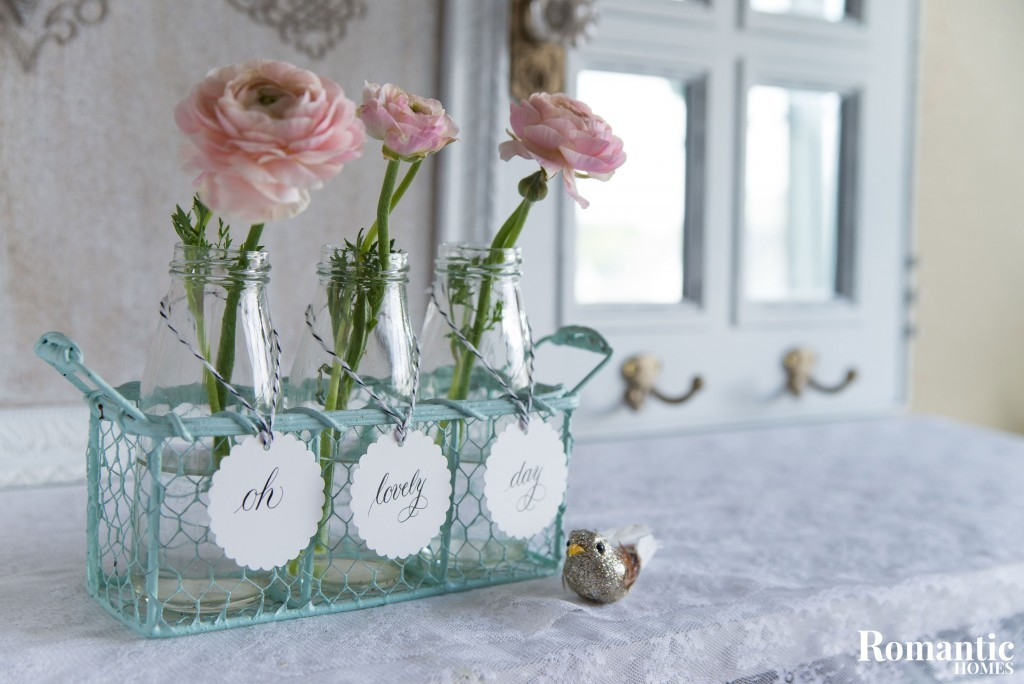 Flower vases with tags