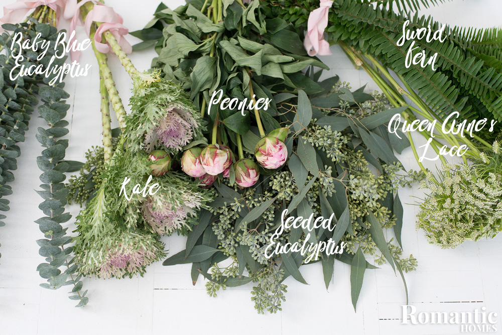 Elements of a romantic bouquet