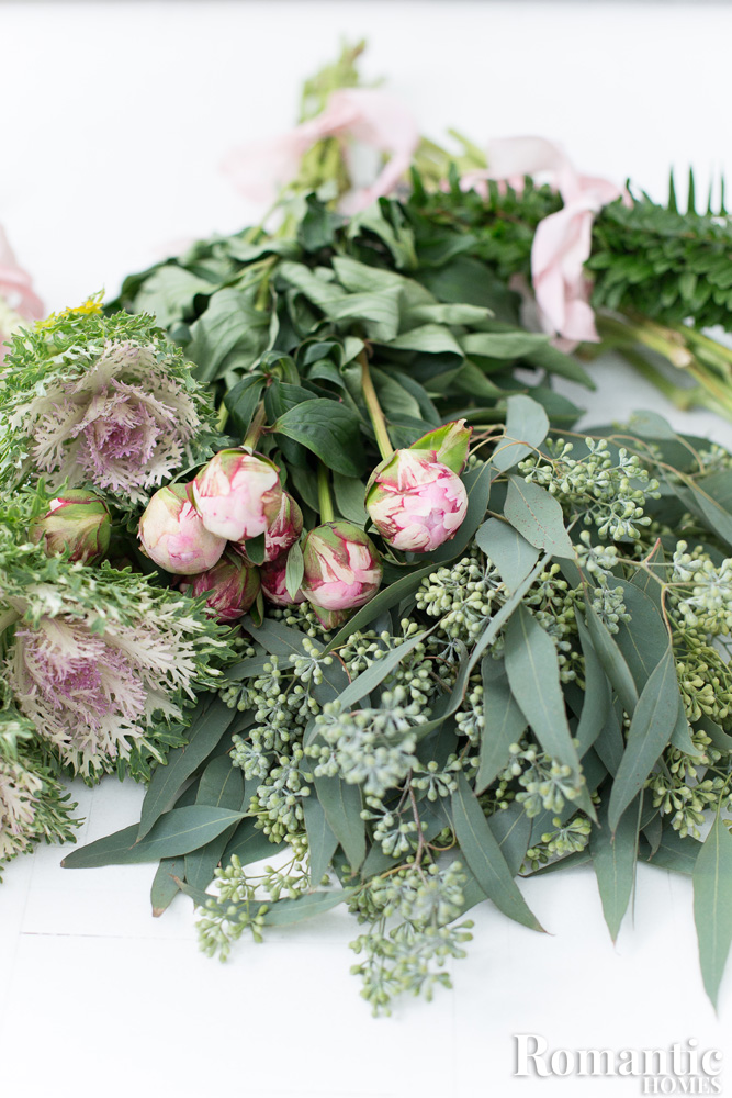 Romantic bouquet elements including peonies, eucalyptus and Queen Anne's Lace