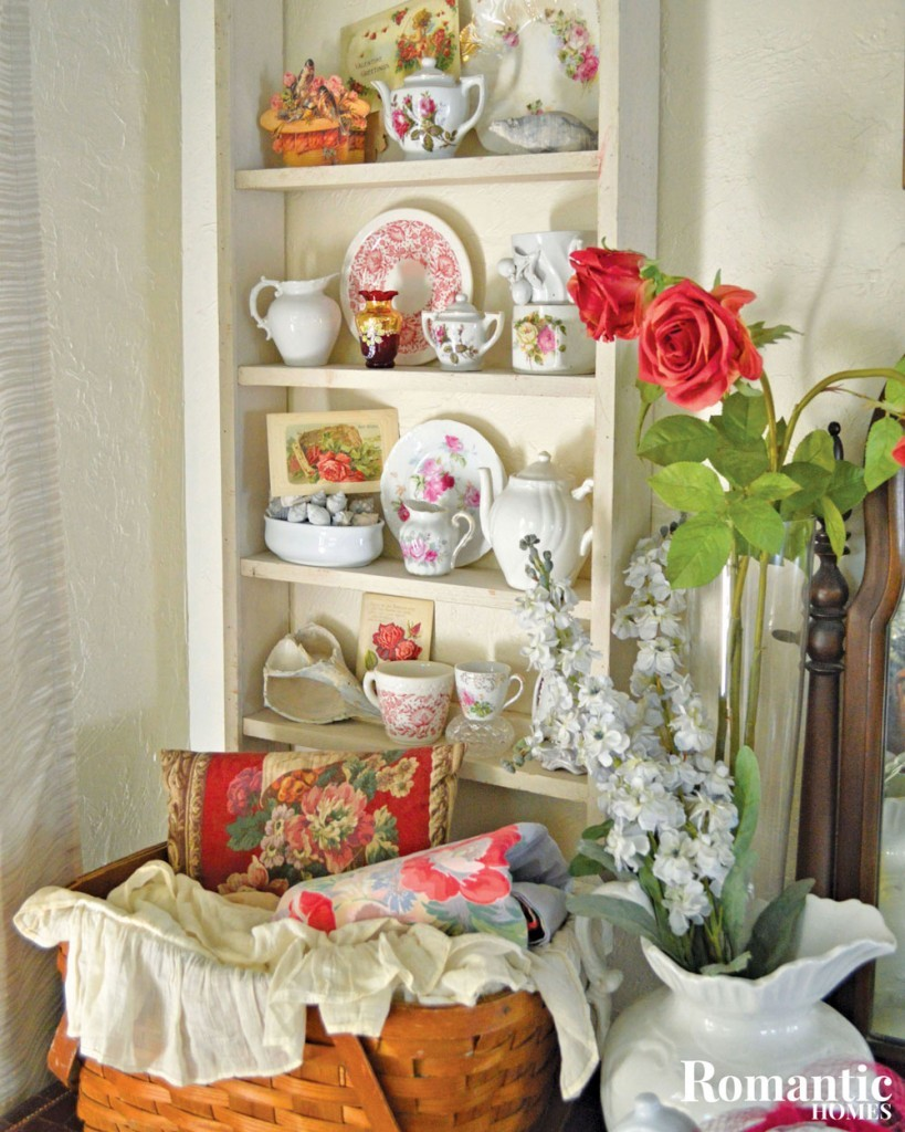 Victorian collectibles shelf