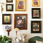 Gallery wall of floral paintings