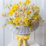Daffodil bouquet in white basket