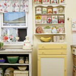 vintage kitchen with colorful tins on shelves