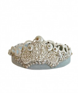 Mermaid bridal tiara covered in hundred of miniature mother of pearl shells and the tiniest seed pearls.