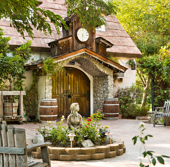 The front entrance of Briar Rose Winery a thatched cottage fit for fairy tales.