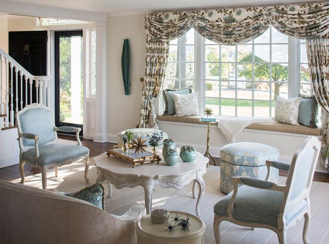 Tina Anastasia commissioned custom drape fabric for the formal living room