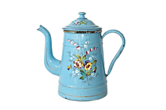 French enamelware with hand painted flowers