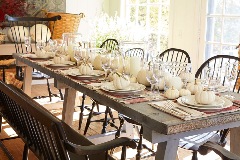 To set the scene for her get together, Nora Murphy started with a 10-foot 19th century work table as her base on which to build her tablescape