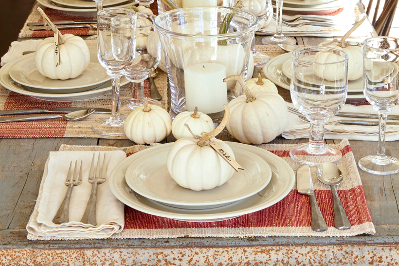 Nora Murphy decorates with Simon Pearce glassware and white pumpkins