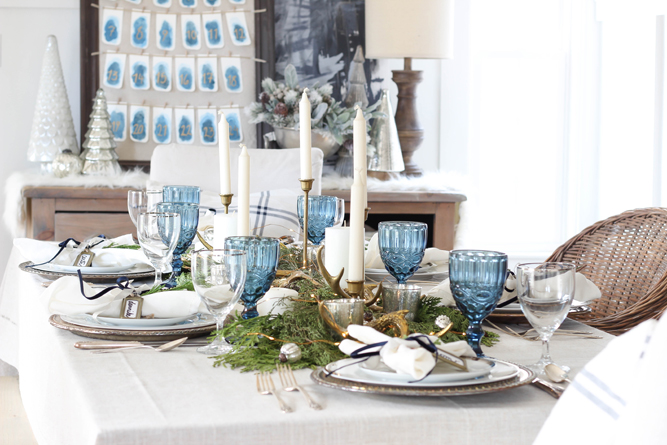 silver and blue holiday tablescape